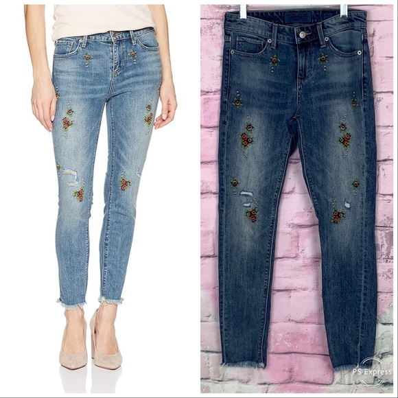 Lucky Brand Denim - Lucky brand Ava skinny floral embroidered jeans 24